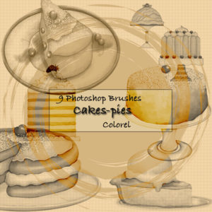 9 Cake & Pie Themed Photoshop Brushes